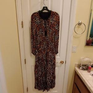 NWT Leopard Dress with beaded neckline and tassel.